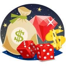 : Diamant, pengasäck, tärningar och dollartecken